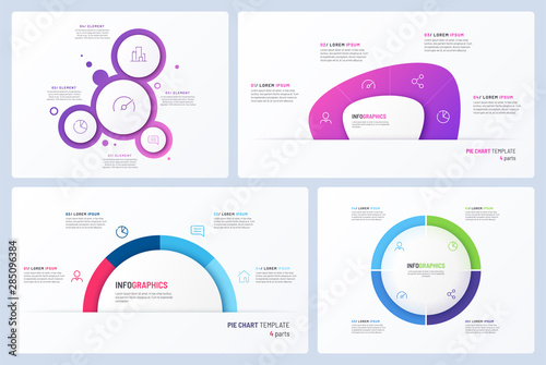 Fotomural Set of minimal vector infographic templates. 4 options