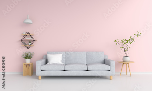 Fototapety, obrazy: Gray sofa in pink living room, 3D rendering