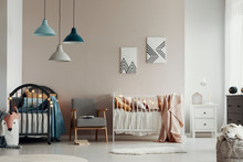Scandi Baby Bedroom Interior W...