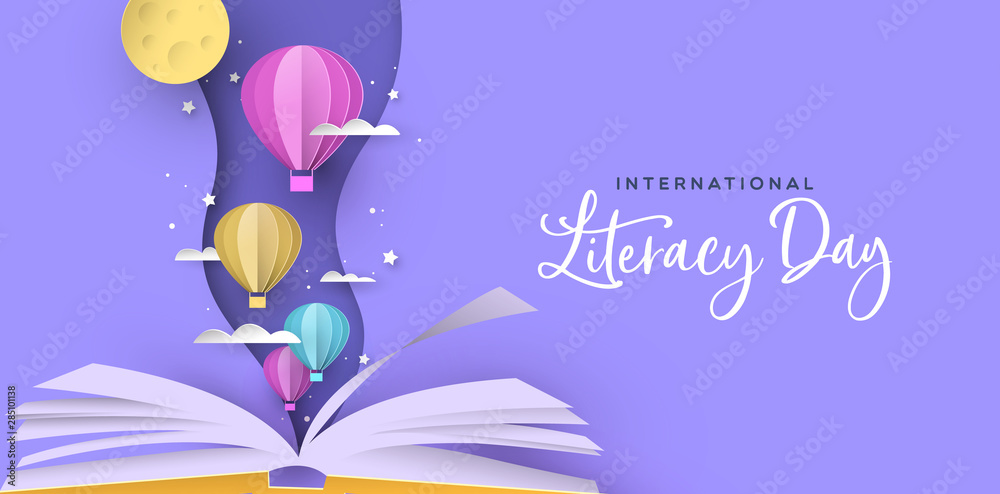 Fototapety, obrazy: Literacy Day open book papercut hot air balloon