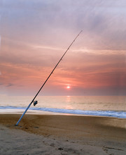 Cape Hatteras Sunset With Fishing Pole