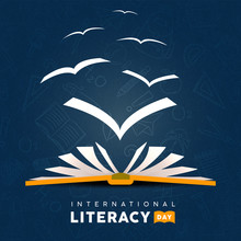 Literacy Day Card Concept Book With Pages As Birds