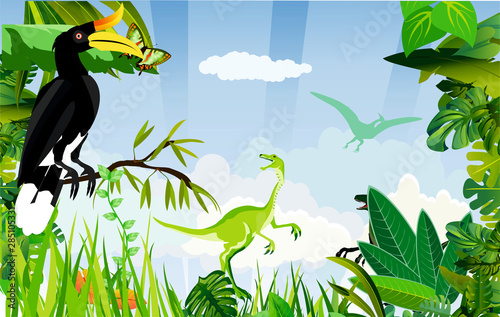 Prehistoric jungle life scene, green dinos on background, silhouettes, floral frame, nature background vector