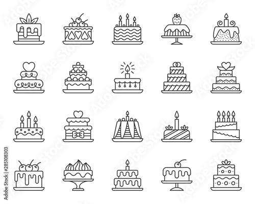 Stampa su Tela Cake Dessert simple black line icons vector set