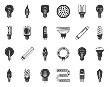 Light Bulb Black Silhouette Icons Vector Set
