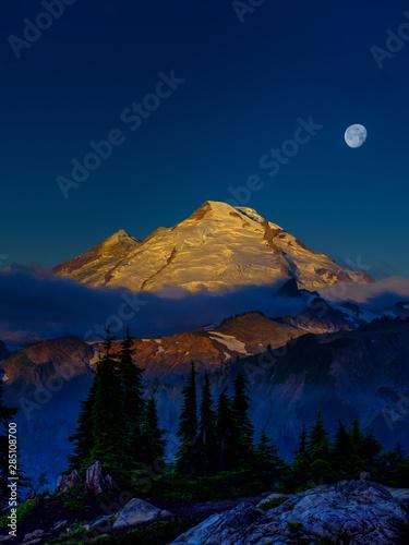 Mt Baker Moon at sunrise in the Cascade Mountain range