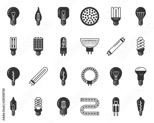 Obraz Light Bulb black silhouette icons vector set - fototapety do salonu