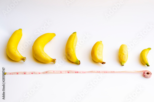 Canvas Different size and shape of Banana compare, A penis Size compare concept