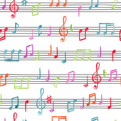 Fototapeta Muzyka / Instrumenty Seamless colorful music notes pattern. Watercolor musical background