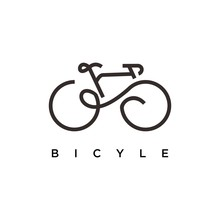 Bicycle Logo Design. Bicycle Line Art Vector Design. Bicycle Parts Logotype