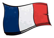 Painted France Flag Waving In ...