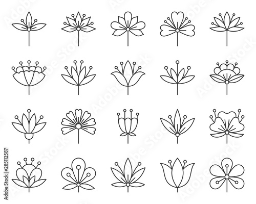 Abstract Flower simple black line icons vector set Wall mural