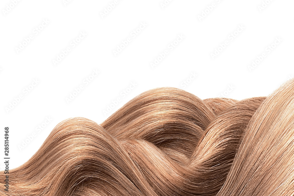 Fototapety, obrazy: Natural brown hair isolated on white. Background, copy space