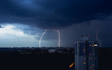 Lightning In Stormy Sky Above ...