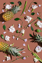 Flowers And Pineapples On Brown Background