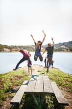 Friends Jumping Off A Picnic T...