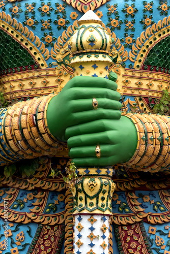 Foto op Canvas Historisch mon. Statue of demon guardian in Buddhist temple