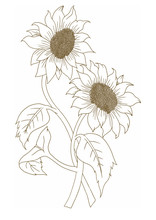 Flower Motives ,line Drawing O...