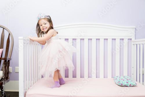 Fotomural Cheerful Little Princess Having Fun At Home