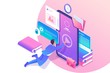 Isometric concept Man studying online, a large library of knowledge. Mobile Application for training. Concept for web design
