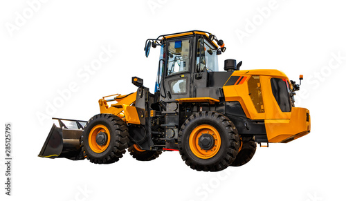 Fotografía  Dusty big bulldozer, isolated on pure white background.
