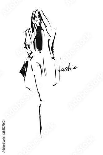 Young stylish woman, beautiful girl. Hand-drawn fashion illustration. Sketch, vector