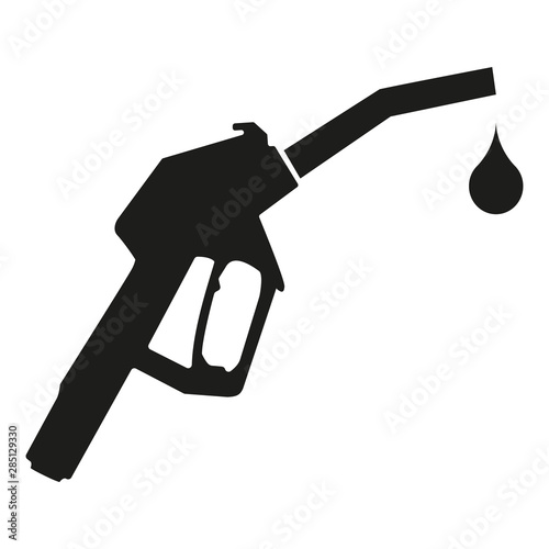 Fotomural  Black fuel nozzle icon with a drop icon isolated on white background