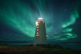 Amazing beacon with bright light located against wonderful starry sky in beautiful winter countryside