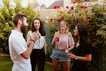 Group Of Cheerful Friends Clinking Glasses At Party
