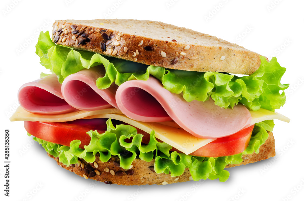 Fototapety, obrazy: Sandwich with whole grain bread, salad, cheese, tomato and ham on a white isolated background