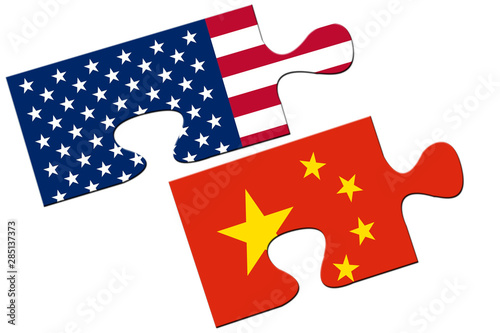 USA and China puzzles from flags, relation concept. Wallpaper Mural