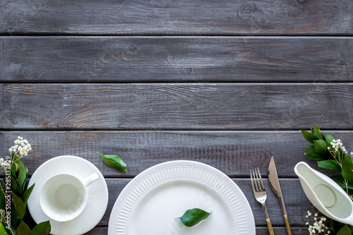 Elegant table setting with plates and tableware on wooden background top view co Wallpaper Mural