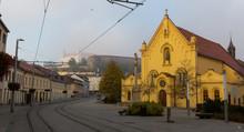 Early Morning In Center Of Bratislava With Tramline