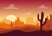 Desert Sunset Silhouette Landscape. Arizona Or Mexico Western Cartoon Background With Wild Cactus, Canyon Mountain