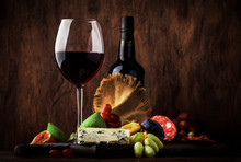 Red Wine Glass And Appetizers,...