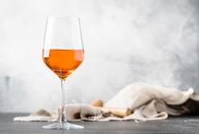 Orange Wine In Big Wine Glass,...