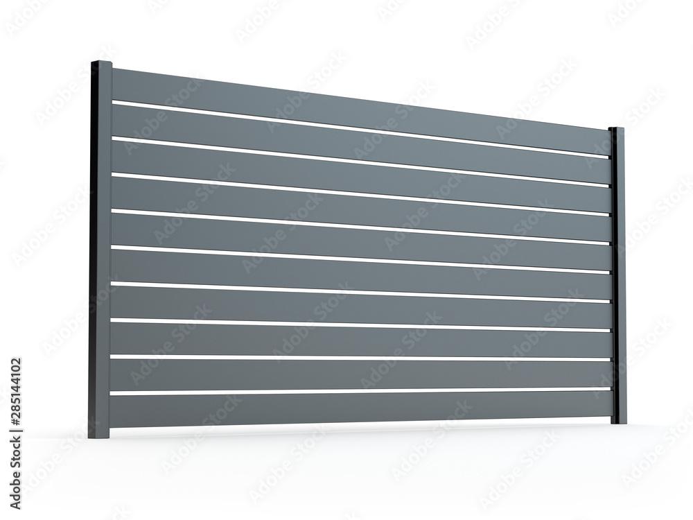 Fototapeta Fence panel isolated on white, 3D illustration