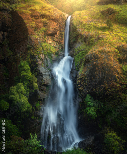 Waterfall in autumn forest at sunset in Nepal. Colorful natural landscape with waterfall with blurred water in mountains, green trees and grass on the rocks, yellow sunlight in fall. Beautiful nature