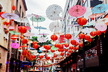 Street Decorated With Lanterns...