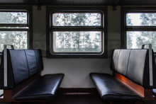 Empty Seats Inside Passenger Car Of Old Electrical Train