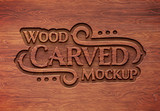 Carved Wood Text Effect Mockup - 285147359