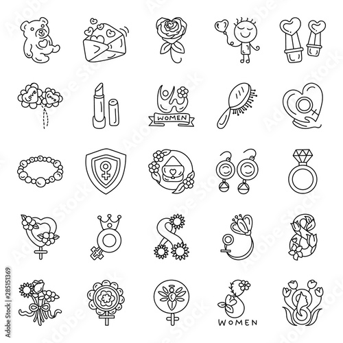 Fototapety, obrazy: Special Events Accessories Hand Drawn Vectors