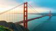 San Francisco's Golden Gate Bridge at sunrise from Marin County