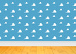 canvas print picture - Background Room Kids - Clouds blue Room and wooden floor