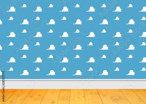 Background Room Kids - Clouds blue Room and wooden floor