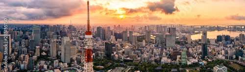Aerial drone Panorama - Skyline of the city of Tokyo, Japan at sunrise. Asia