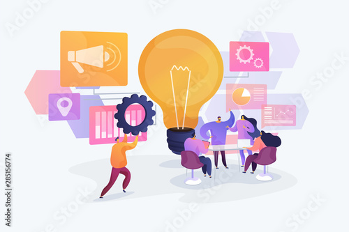 Business idea generation. Marketing strategies, investment opportunities discussion. Start up launching, business success, brainstorm meeting concept. Vector isolated concept creative illustration