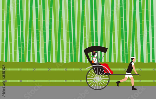 Fotografia 竹林と人力車。ベクター素材。