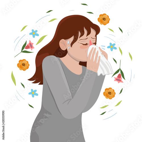 Seasonal Allergy Girl blows her nose in a handkerchief Wallpaper Mural