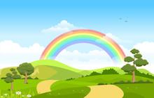 Beautiful Rainbow Sky With Gre...